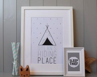 Tipi Hiding Place PrintWall Art  (A4) - Customised Personalised for Nursery/Child's Room (Tepee/Teepee) Gift
