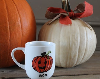 "Halloween Themed ""Boo"" Jack-O-Lantern Mug"