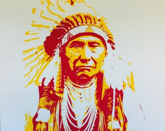 Chief Joseph Print; Screen Print Posterization Poster; Nez Perce Native American; Indian Chief; Silkscreen