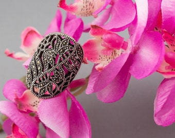 Vintage Marcasite Plant Patternned 925 Silver Ring