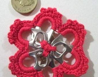 Crochet red flower brooch