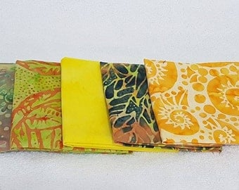 Batik Fat Quarters Yellow Tones  - 5 Pack - BUY 3 GET 1 FREE!!