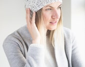 Alpaca Chunky Spiral Knit Hat with Faux Fur Pom Pom// Winter Hat// Beige Tweed