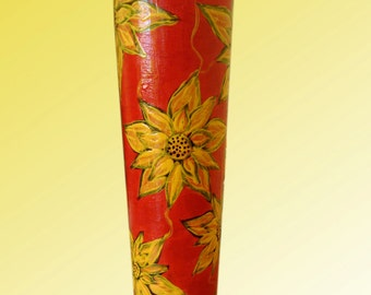 Red vase with yellow flowers, Glass Vase, Hand Painted Vase, Wedding Gift, Birthday Gift, Mothers Day