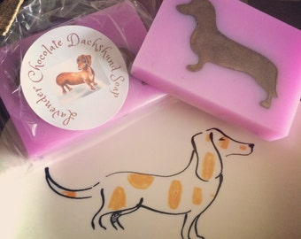 Lavender Chocolate Dachshund Soap