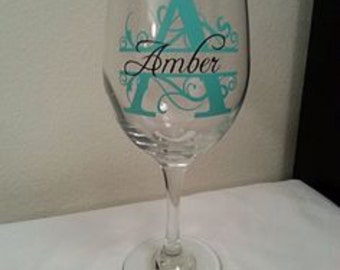Vinyl Monogram and Name for Wine Glass