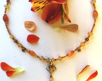 Fire Opal, Carnelian and Ethiopian Opal rondelle neclace with vermeil accents