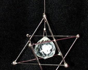 Sacred Geometry Hanging Pendulum Merkaba with Amethyst Gems