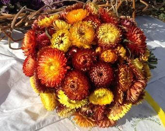 Wedding bouquet, gorgeous orange helichysums (organic)