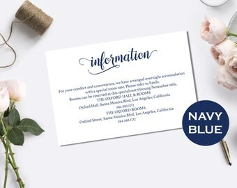 navy blue wedding information card template wedding information card printable wedding details general