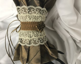 Pleated Steampunk Wrist Cuff Gauntlet-Octopus Antique Gold Pintuck Taffeta-embellished with lace-trim-ribbons-fasten with one hand-gift idea