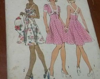 Vintage sewing pattern - Simplicity 6388 - Party sun dress - bolero - sweetheart - Size 12 - 1975 - womens paper pattern