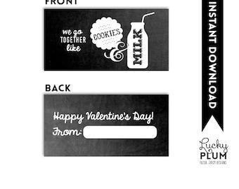 Cookies and Milk Valentine Printable / Valentine Printable Tag / Cookies and Milk Valentine Tag / Cookies and Milk Treat Bag Topper