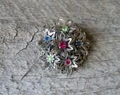 vintage rhinestone fruit salad brooch pin . 3d silver flower brooch with green, pink, blue rhinestones . vintage costume jewelry