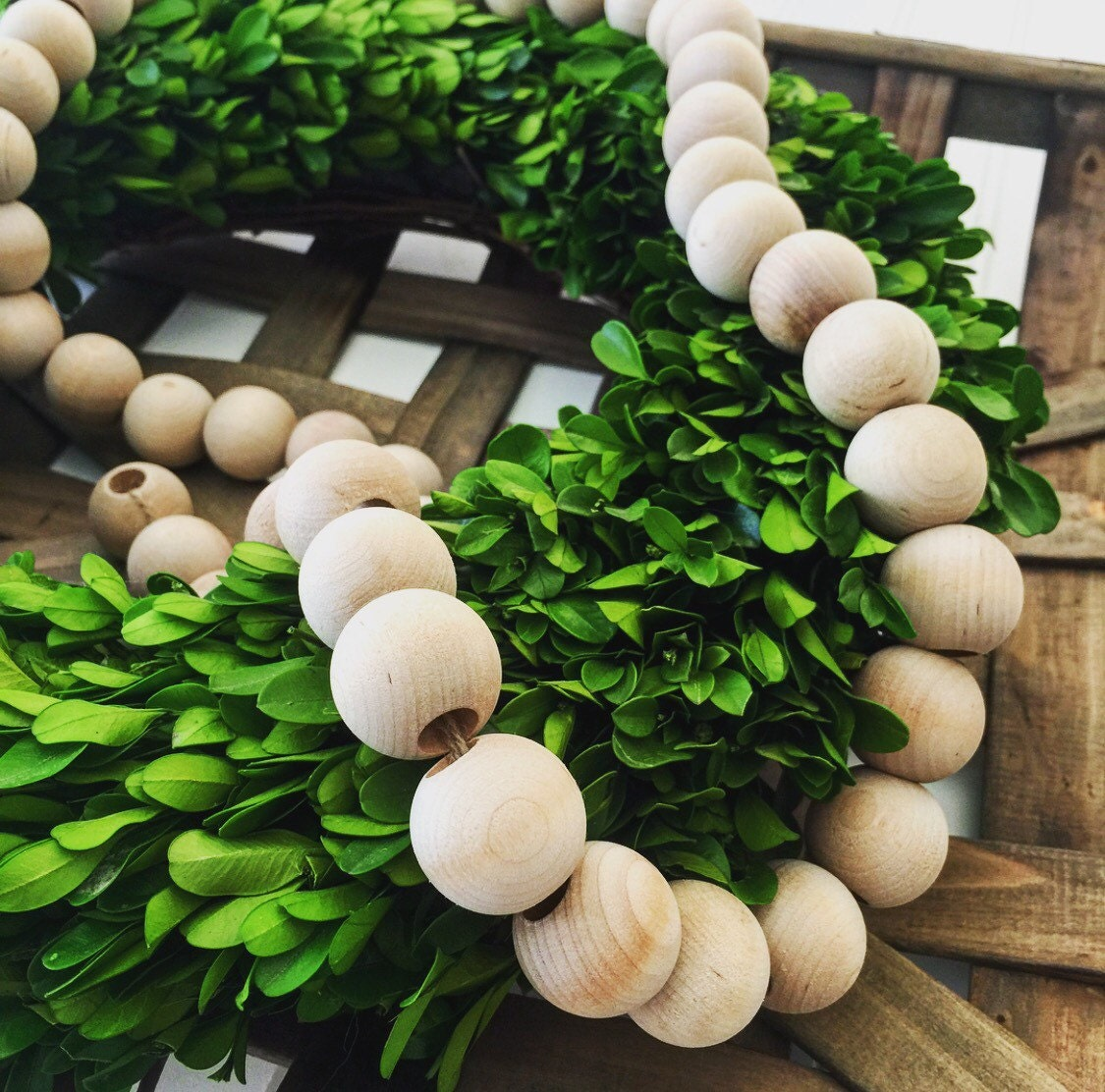 Free Shipping Unfinished Natural Wood Bead Garland on Jute Twine One Inch Diameter Four Feet Long Magnolia Market Inspired Farmhouse