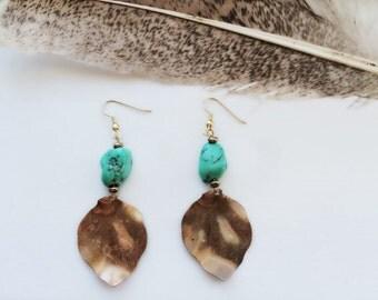 Gypsy Fall - Copper Leaf Turquoise Earrings