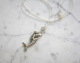 Silver Toned Child Mermaid Charm Necklace