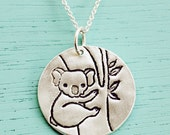 KOALA NECKLACE / Australia necklace - original silver koala pendant with cute koala bear artwork by boygirlparty