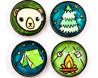 Camping Decor - Camping Magnets - Happy Camper Magnets Summer Camp Sleepaway camp RV Decor Glamping Decor Rv accessories tent camping