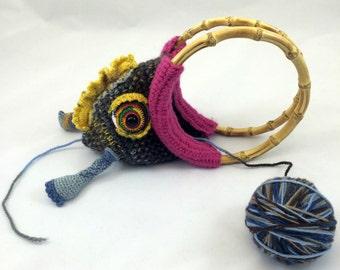 Yarn Holder Monster Bag, Portable Yarn Bowl for Crochet and Knitting, Functional Art for Fiber Artists - Larry Monster