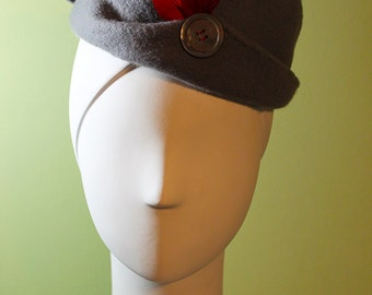Women's Gray Wool Sculptured Hat with Red Details - Women's Gray Wool Sculpted Cloche - 1930s Style Women's Wool Hat - Small - OOAK