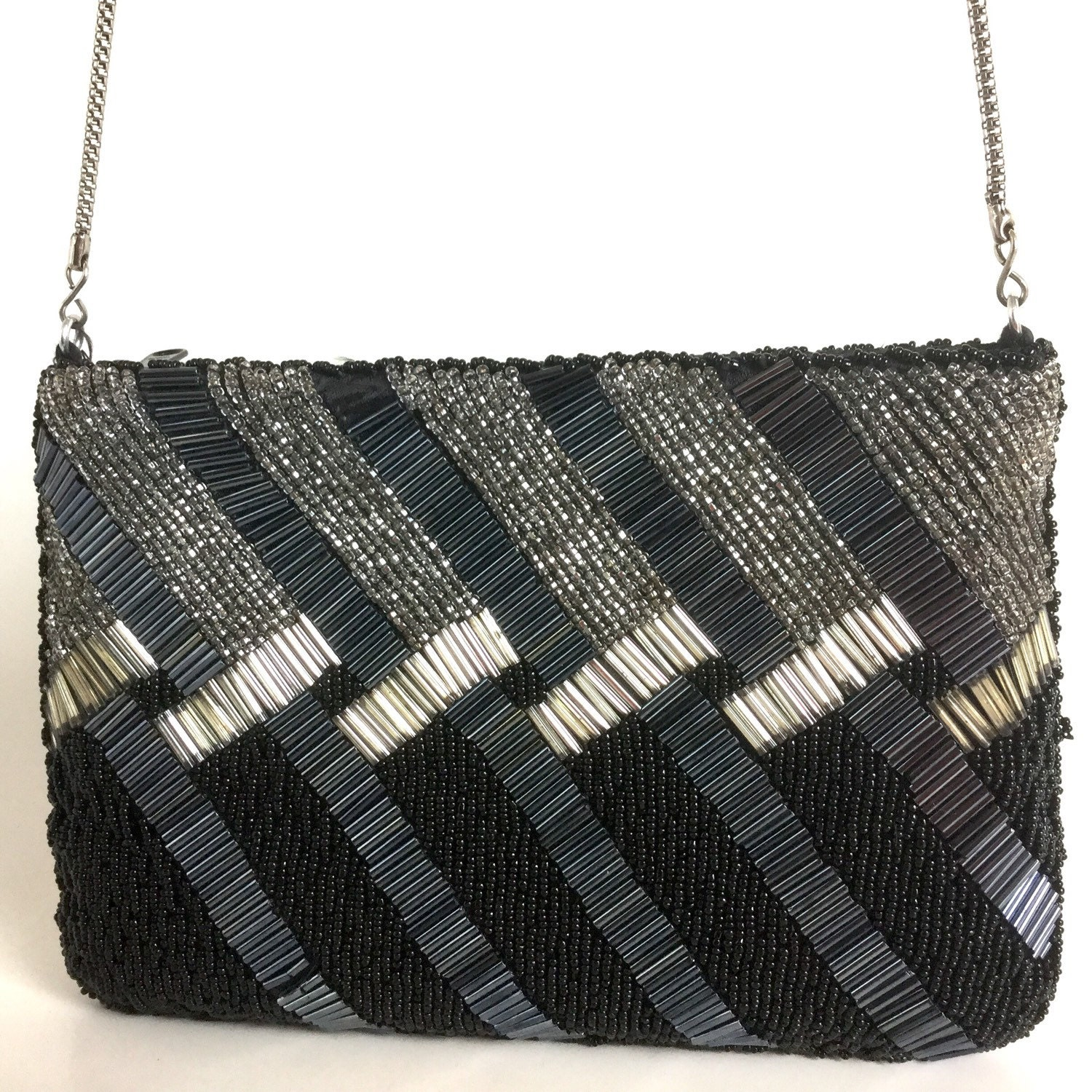 657771752e9 Black Beaded Handbag - Silver Diagonal Lines, Shimmery Glass Seed Beads    Tube Beads -
