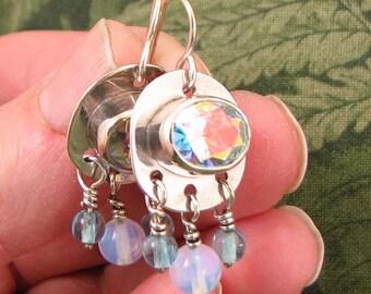 "Mercury Mist CZ ""Silver Rain"" earrings with Sea Opal and glass beads - OOAK - small and dainty"