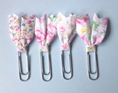Planner clips, floral bible clips, set of 4 paper clips, book page marker, fabric planner clip, planner acessories, teacher gift, pc023
