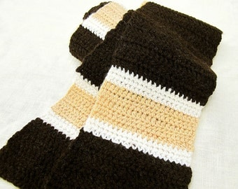 Striped Wool Scarf - SALE Chocolate Brown, Maple Sugar Tan, Cream retro american wool neckwarmer for men and women, old school gift for him