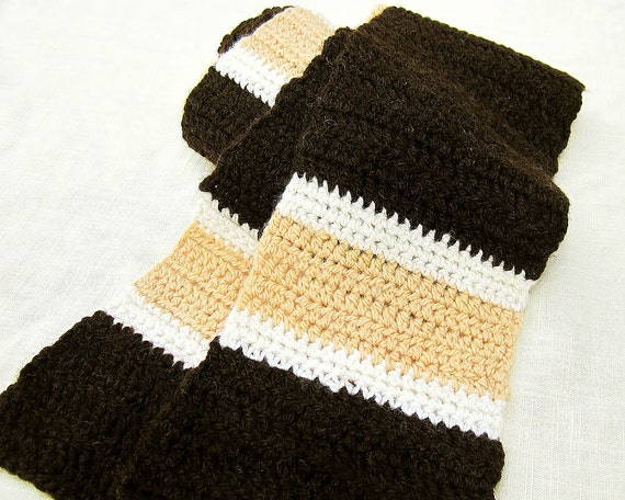 Striped Wool Scarf - Unisex - Chocolate Brown, Maple Sugar Tan, Cream - Earthstepper - retro american wool neckwarmer for men and women