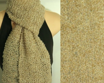 Hand Knit Scarf Lace Alpaca Wool Boucle Light Tan