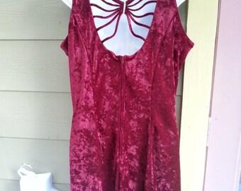 Vintage 90s Grunge Crushed Velvet Strappy Back Swingy Skater Dress Size 13/14