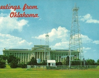 Vintage 1960s Postcard Greetings from Oklahoma City State Capitol Building Oil Well Derrick Photochrome Era Postally Unused