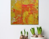 """Small 12x12"""" Abstract Painting - Orangeade 2 - textured acrylic on wood panel - paint scrape build up - Giftable Art - Yellow and Orange"""