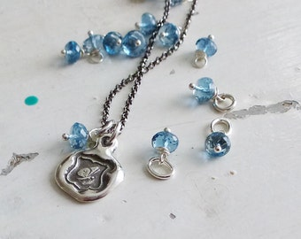 Add a Charm - Faceted Swiss Blue Topaz Rondel 6-7mm Gemstone Accent
