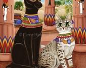 Bast Cat Art Bastet Egyptian Goddess Cat Painting Egypt Temple Bast Statue Mau Fantasy Cat Art Print 8x10 Cat Lovers Art