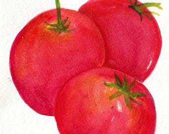 Tomatoes  Original Watercolor Painting, Small Fruit Painting, Food Wall Art, kitchen decor 5 x 7, SharonFosterArt Farmhouse Decor
