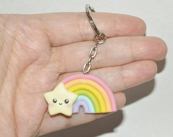 Keychain Kawaii Rainbow and Star - Pastel Rainbow Accessories for Spring And Summer Fashion