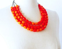 Multi strand layering Vintage necklace, Orange Lucite 1960 necklace, Pin Up Rockabilly Must have Colorful Summer necklace