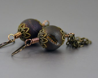 Tassel Earrings Featuring Purple Brown Druzy Agate Beads Antiqued Brass Filigree Caps and Chain