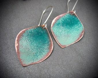 ombre ... copper earrings