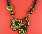 Rainbow Lion Necklace - Black and multi coloured beads, colourful lion pendant, funky tribal bold, statement necklace, summer jewelry, fun!