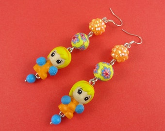 Cute Cheerleader Earrings - little girls with pompoms , orange blue yellow, shambala beads, sparkly disco beads, Harajuku Decora, Kawaii