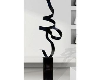 Modern Abstract Metal Garden Art Modern Sculpture, Large Metal Indoor-Outdoor Statue - Black Perfect Moment by Jon Allen