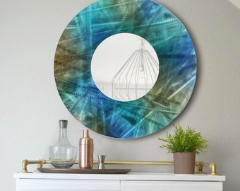 Round Blue, Brown and Teal Jewel Tone Modern Metal Wall Mirror, Abstract Functional Art, Contemporary Circle Wall Accent - Mirror 103