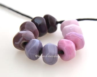 Lampwork Glass Beads Nugget Rocks PINK to PURPLE Tiny Handmade TANERES sra faceted