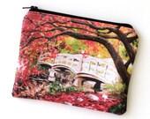 Japanese Bridge - Zipper Pouch - Red Autumn Leaves and Bridge - Art by Marcia Furman