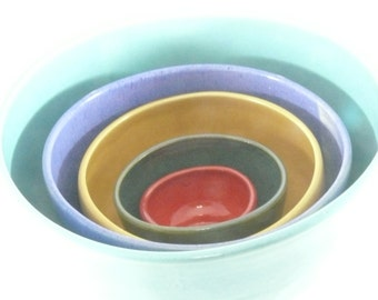 Ceramic Nesting Bowls, Kitchen Serving Bowls, Ceramic Dinnerware, Set of bowls in bright colors, pottery and ceramics, Kitchen Decor 351