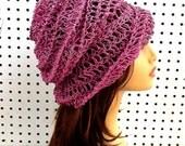 Summer Crochet Hat Womens Hat, Womens Crochet Hat, Hemp Hat, Summer Hat, Sun Hat, Beach Hat, Crochet Beanie Hat, Pink Hat, OMBRETTA