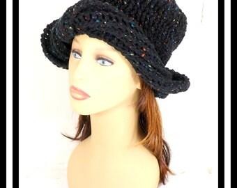 Black Tweed Crochet Hat, Womens Hat, Crochet Turban Hat, Crochet Beanie Hat, Black Tweed Hat, Winter Hat, SAMANTHA Turban Hat